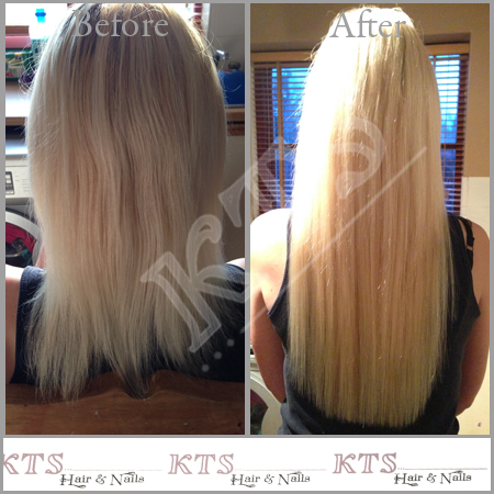 Very long white blonde extensions